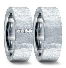 schöne Hochzeitsringe Edelstahl breit & Diamanten
