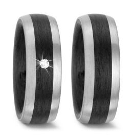 Trauringe bicolor Carbon schwarz Palladium Diamant