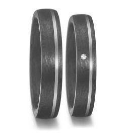 schlichte Trauringe 500/- Palladium Carbon Diamant