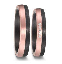 elegante Carbon 585/14K Rosègold Eheringe Diamanten