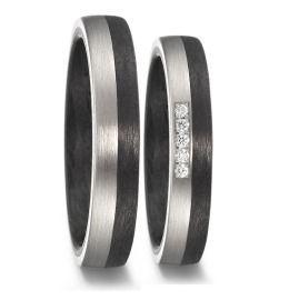 elegante Carbon Palladium Eheringe Diamanten