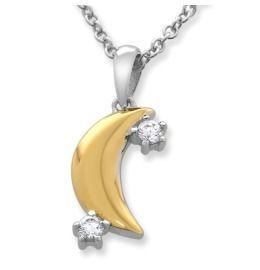 Bicolor Halskette Mond mit Zirkonia, Damenschmuck 925 Silber