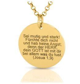Taufschmuck vergoldet Spruch Name Datum