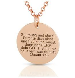 exklusive Kette mit Gravur rosé vergoldet, Taufschmuck Spruch Name Datum