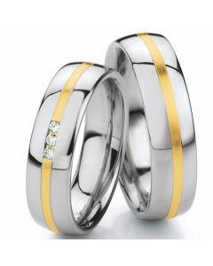 Hochzeitsringe poliert mit Brillanten aus Weiß-& Gelbgold