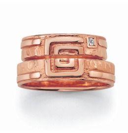 Trauringe Rosègold Quadrat schlichtes elegantes Design Partnerringe