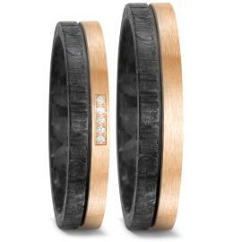 Elegante Partnerringe Eheringe Carbon Bronze und Brillanten