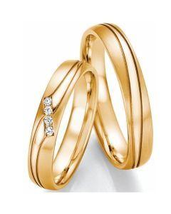 Trauringe Gelbgold Schlichte Eheringe mit Diamanten