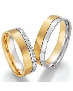Trauringe bicolor Weiß- und Gelbgold elegant schlicht Diamanten