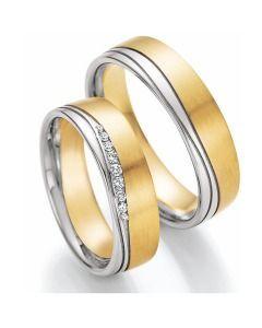 Trauringe bicolor Gelb-& Weißgold im schlichten edlen Design mit Diamanten
