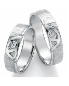 Trauringe Weißgold Peace schlicht mit Diamant Partnerringe