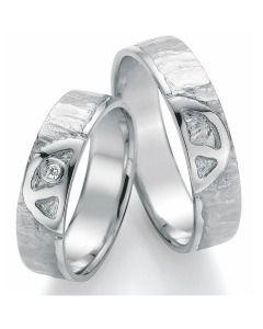 Trauringe Silber Peace schlicht mit Diamant Partnerringe