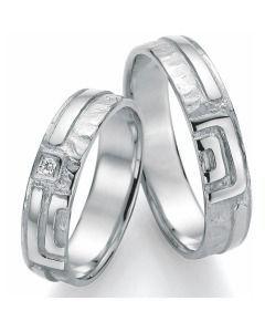 Trauringe Silber Quadrat schlichtes elegantes Design Partnerringe