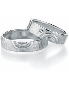 Trauringe Silber Kreise Hammerschlag Design Partnerringe