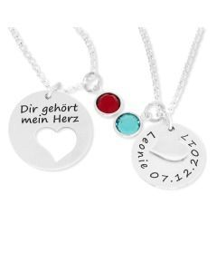 Mutter Kind Schmuck, Ketten Set mit Gravur