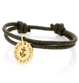 Segeltau Armband Kordel khaki 3mm Gravur Anhänger Anker vergoldet
