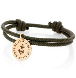 Gravur Anhänger Anker rosé vergoldet Segeltau Armband Kordel khaki 3mm