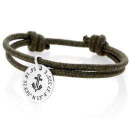 Anker Armband Gravur Koordinaten 925 Silber