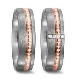 Titanium Eheringe hell mit Goldband & Brillanten