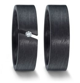 Angebot Trauringe Carbon mit Diamanten breite Eheringe