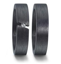 Trauringe Carbon mit Diamanten breite Eheringe
