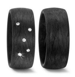 Trauringe Carbon mit Diamanten schwarz